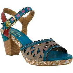 Women's L'Artiste by Spring Step Acela Ankle Strap Sandal Turquoise Multi Leather