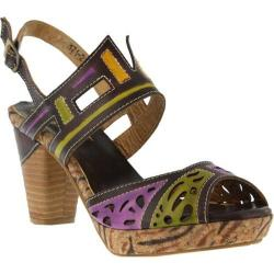 Women's L'Artiste by Spring Step Ellie Quarter Strap Sandal Brown Multi Leather