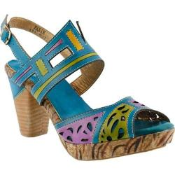 Women's L'Artiste by Spring Step Ellie Quarter Strap Sandal Turquoise Multi Leather