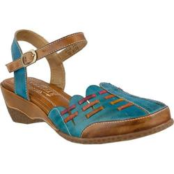 Women's L'Artiste by Spring Step Erja Closed Toe Sandal Sky Blue Multi Leather