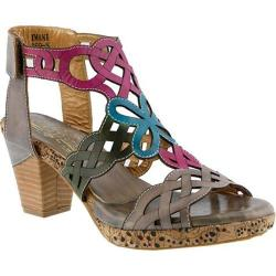 Women's L'Artiste by Spring Step Imani Ankle Strap Sandal Gray Multi Leather