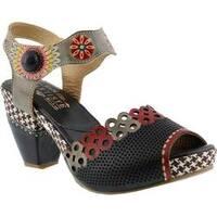 Women's L'Artiste by Spring Step Jive Quarter Strap Sandal Black Multi Leather