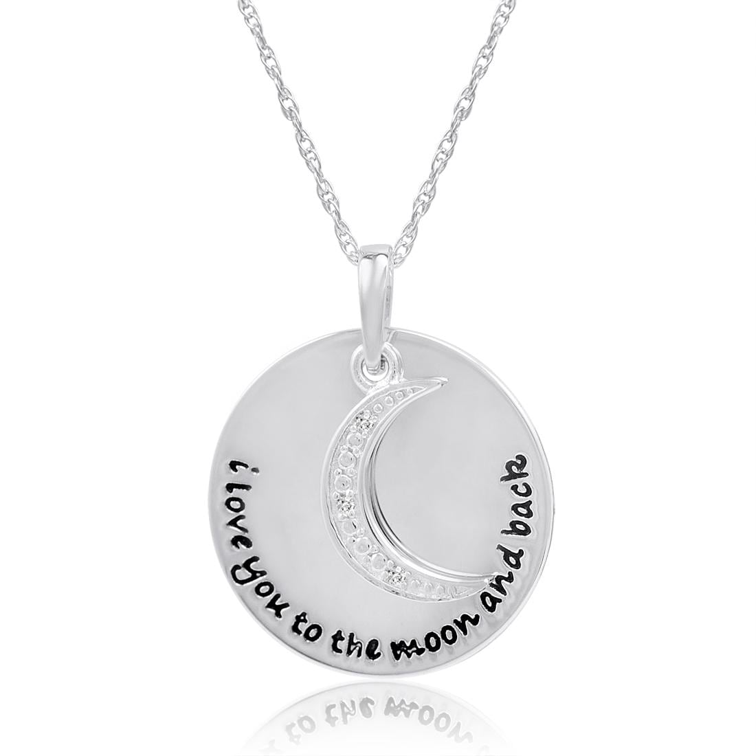 Amanda Rose Sterling Silver and Diamond I Love You to The Moon and Back Disc Pendant