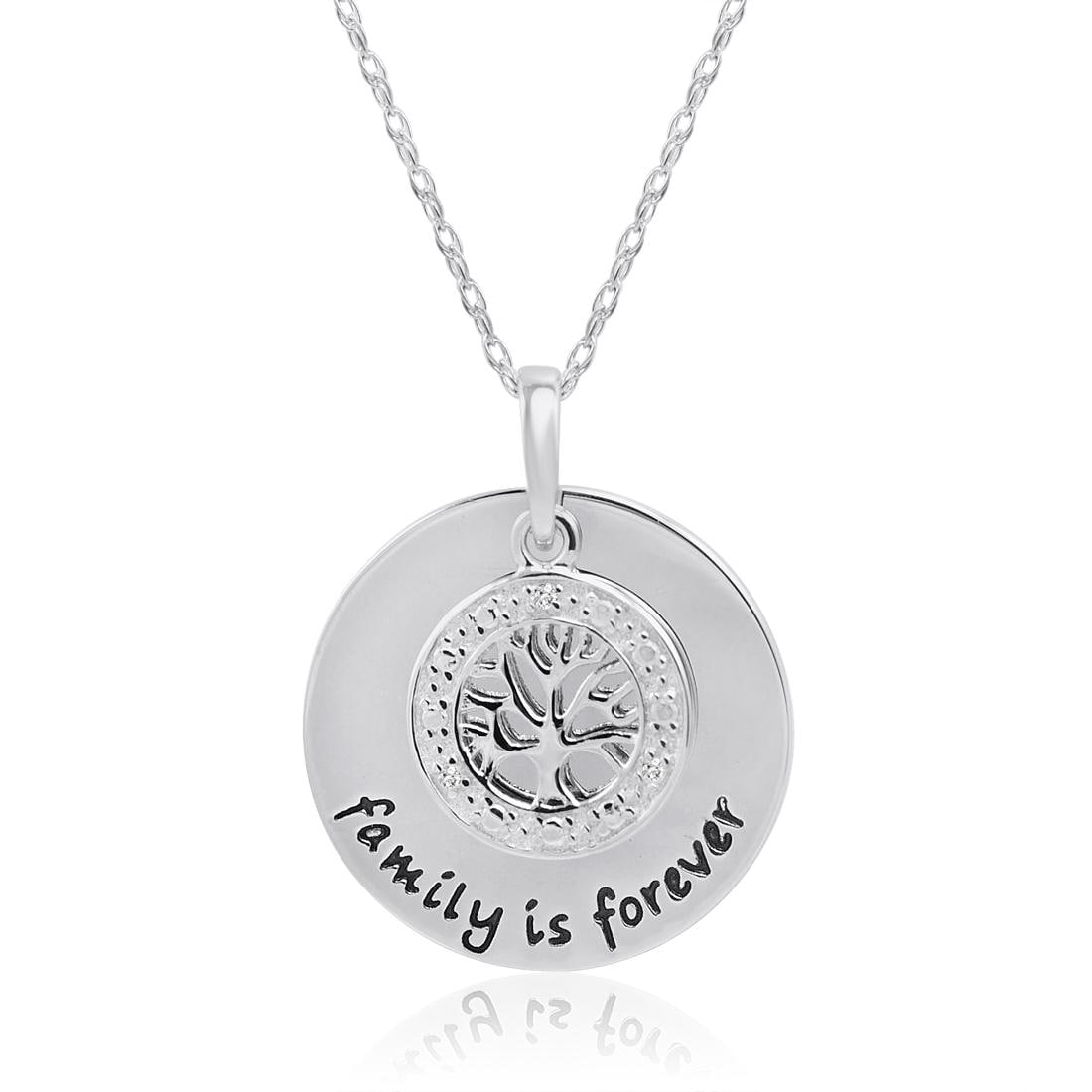 Amanda Rose Family is Forevery Diamond Disc Pendant - Necklace in Sterling Silver