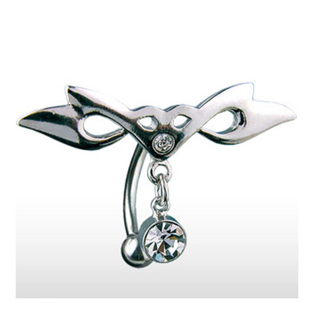 """Surgical Stainless Steel Top Down Navel Belly Button Ring with Hinged Tribal Wing CZ Dangle - 14GA 3/8"""" Long"""