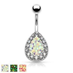 Imitation Opal Glitter Centered Crystal Paved Tear Drop 316L Surgical Steel Belly Button Rings