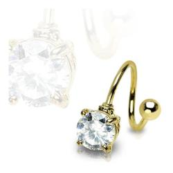 Gold Plated Twist with 7mm Prong-Set Round Gem