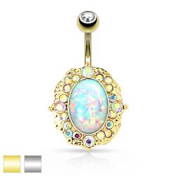 Opal Center with AB Crystals 316L Surgical Steel Navel Ring