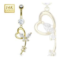 "14 Karat Solid Yellow Gold Navel Belly Button Ring with Marquise CZ Butterfly Heart Loop Dangle- 14GA 3/8"" Long"