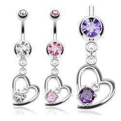 Hollow Heart with Prong CZ Dangle Navel Belly Button Ring 316L Surgical Steel - Thumbnail 0