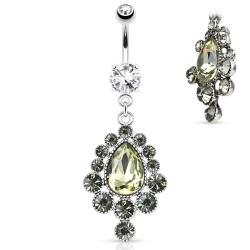 Cascade Pear Cut Gem Dangle 316L Surgical Steel Navel Ring
