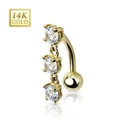 "14 Karat Solid Yellow Gold Top Down Triple CZ Stones Dangle Navel Belly Button Ring - 14GA 3/8"" Long"
