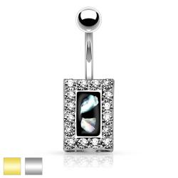 Crystal Paved Square with Mother of Pearl Inlaid Center 316L Surgical Steel Belly Button Rings