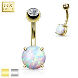 Prong Set 8mm Opal Stone 14K Gold Navel Ring