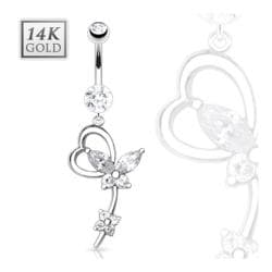 "14 Karat Solid White Gold Navel Belly Button Ring with Marquise CZ Butterfly Heart Loop Dangle - 14GA 3/8"" Long"