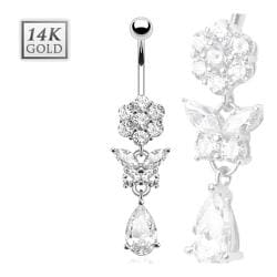 Gemmed Flower and Butterfly with Pear Cut CZ Dangle 14 Karat Solid White Gold Navel Belly Button Ring
