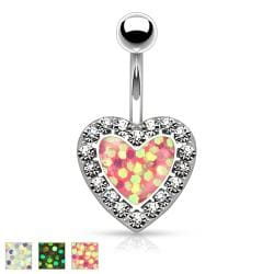 Imitation Opal Glitter Centered Crystal Paved Heart 316L Surgical Steel Belly Button Rings