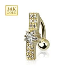 """14 Karat Solid Yellow Gold Multi CZ Wavy Bar with Star CZ Navel Belly Button Ring - 14GA 3/8"""" Long"""