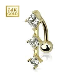 "14 Karat Solid Yellow Gold Top Down Navel Belly Button Ring with Triple Diamond Cut CZ - 14GA 3/8"" Long"