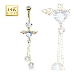 """14 Karat Solid Yellow Gold Navel Belly Button Ring with Angel Wing Heart CZ Dangle - 14GA 3/8"""" Long"""