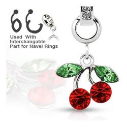 Add-On Red Gem Cherry Dangle Charm for Navel Belly Button Ring, Dermal Anchors and More