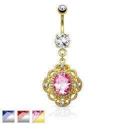 Oval CZ Centered Tribal Floral Design Dangle 316L Surgical Steel Belly Button Rings