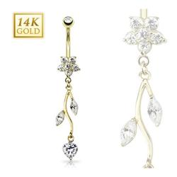"14 Karat Solid Yellow Gold Flower CZ Vine Dangle Navel Belly Button Ring - 14GA 3/8"" Long"