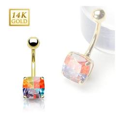 14 Karat Solid Yellow Gold Multi-Colored Emerald Cut Prong-Set Miracle Gem Navel Belly Button Ring