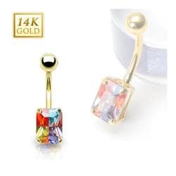 14 Karat Solid Yellow Gold Multi-Colored Princess Cut Prong-Set Miracle Gem Navel Belly Button Ring