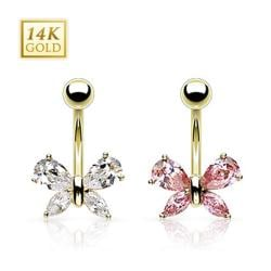 """14 Kt Solid Yellow Gold Marquise Teardrop CZ Butterfly Navel Belly Button Ring - 14GA 3/8"""" Long"""