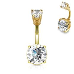 {Clear} Large Prong Set CZ 14kt Gold Plated Over 316L Surgical Steel Navel Ring