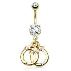 {Clear} Hand Cuffs with Gems 14kt Gold Plated Dangle Navel Ring