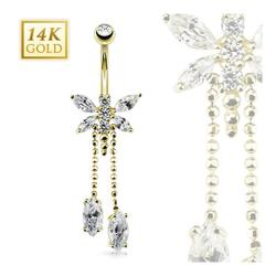 "14 Karat Solid Yellow Gold Marquise CZ Dragonfly Dangle Navel Belly Button Ring - 14GA 3/8"" Long"