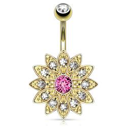Paved Gems Flower with Center CZ 14kt Gold Plated Navel Belly Button Ring
