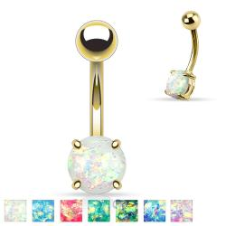 Opal Glitter Prong Set Gold IP Over 316L Surgical Steel Belly Button Rings