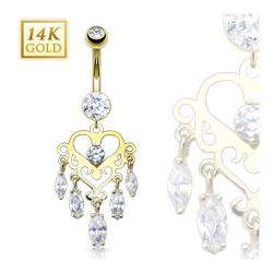 "14 Karat Solid Yellow Gold Navel Belly Button Ring with Marquise CZ Dangle Heart Chandelier - 14GA 3/8"" Long"