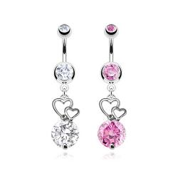 Extra Large CZ with Floating Hearts Navel Belly Button Ring 316L Surgical Steel