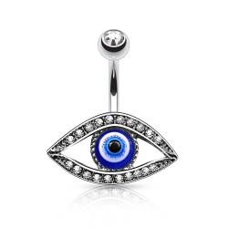 {Clear} Lucky Eye with Paved Stone Around 316L Surgical Steel Belly Button Rings