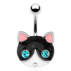 Black Cat Face with Emerald Gemmed Eyes 316L Surgical Steel Navel Belly Button Ring