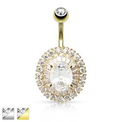 3-Tier Paved CZ Dandelion with Oval CZ Center Navel Ring
