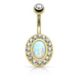 {Opal White} Opal Center Multi Gem Paved Circular Non Dangle Navel Ring