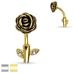 Rose Stem 316L Surgical Steel Belly Button Rings