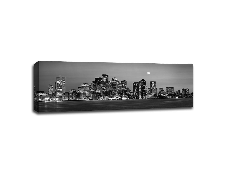 Boston Night Skyline B&W