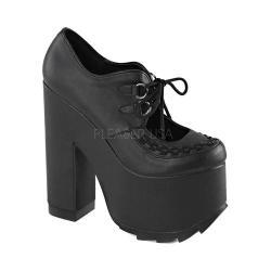 Women's Demonia Cramps 01 Platform Lace-Up Black Vegan Leather