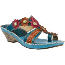 Women's L'Artiste by Spring Step Peeps Sandal Blue Multi Leather