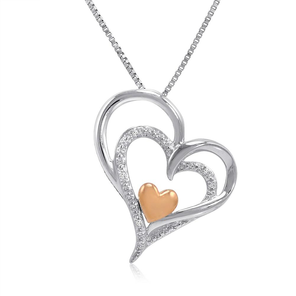 Amanda Rose Sterling Silver and 14K Gold Diamond Heart Pendant-Necklace in Sterling Silver