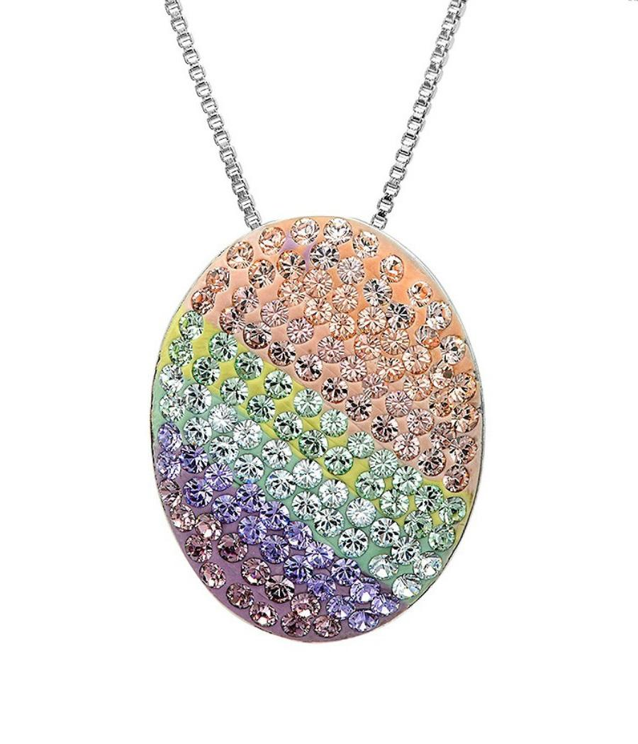 Amanda Rose Sterling Silver Multi Colored Disc Pendant-Necklace made with Swarovski Crystals