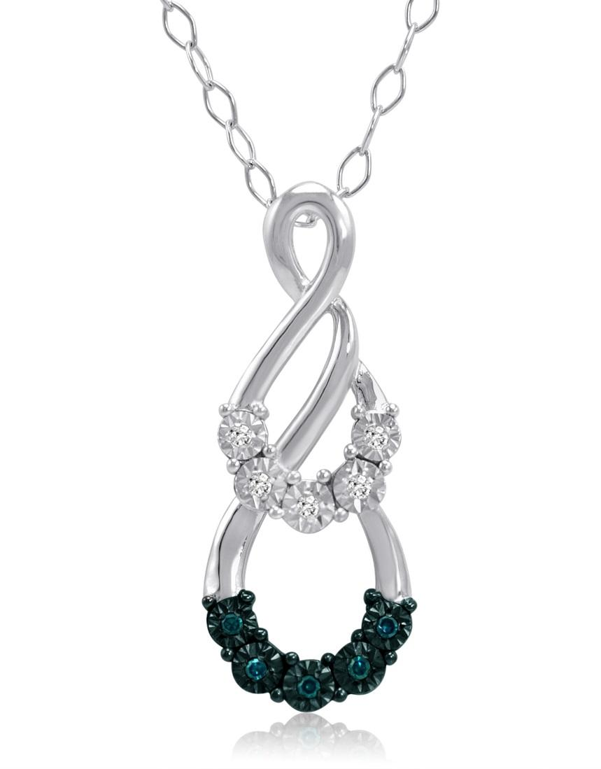 Amanda Rose Blue and White Diamond Pendant-Necklace in Sterling Silver