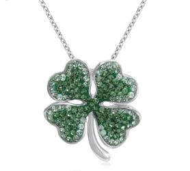 Amanda Rose Sterling Silver Four Leaf Clover Pendant made with Swarovksi Crystals