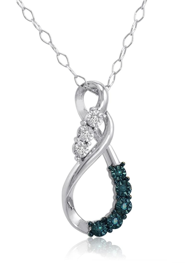 Amanda Rose Blue and White Diamond Tear Drop Pendant-Necklace in Sterling Silver